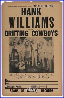 1949 Vintage Original Hank Williams and his Drifting Cowboys concert poster