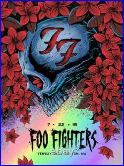 2018 Foo Fighters Boston Fenway Park Foil Concert Poster 7/22 Ltd 60 Ap Signed