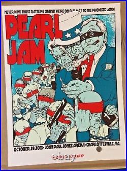2018 Pearl Jam Charlottesville Concert Poster #/100 10/29 Jermaine Rogers Ap S/n