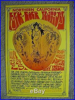 69 CALIFORNIA MUSIC FESTIVAL ORIGINAL CONCERT POSTER HENDRIX ZEPPELIN BG FD AOR