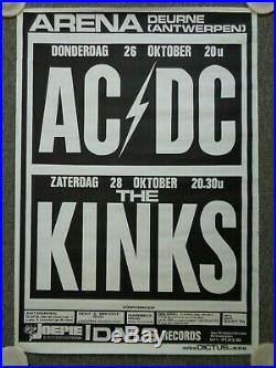 AC/DC Powerage Concert Tour Music Poster + Kinks Arenahall Deurne Belgium 1978