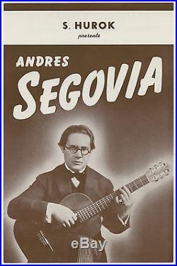 ANDRES SEGOVIA Original 1945 Concert Handbill / Flyer