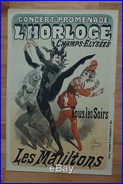 Antique 1876 Cheret Poster Concert L'horloge Champs Elysee Affiche Dance Devil