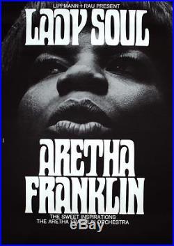 ARETHA FRANKLIN 1968 German A1 concert poster GUNTHER KIESER NEAR MINT SUPERB