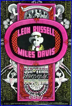 BG252 Leon RussellMiles Davis1970 Original Fillmore West Concert Poster1st