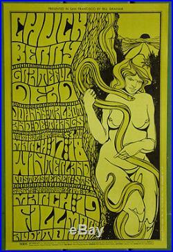 BG55 Chuck BerryGrateful Dead1967 Fillmore Original Concert POSTER 1st