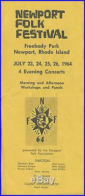 BOB DYLAN Joan Baez more Original 1964 Newport Folk Festival Concert Handbill