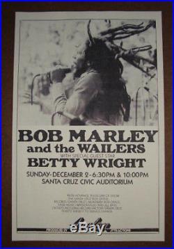 BOB MARLEY & THE WAILERS 1978 ORIGINAL CONCERT POSTER 1ST PRINT / Reggae Rasta