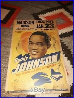 BUDDY JOHNSON His Piano & His Orchestra Original Concert Poster 22 x 14 1951