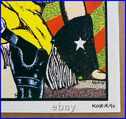 BUTTHOLE SURFERS Houston Austin Dallas 1990 CONCERT POSTER Signed KOZIK Minty