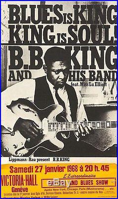 B. B. BB KING 1968 Swiss Geneva concert poster VERY RARE 22x40 NM