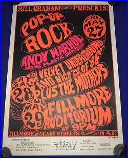 Bill Graham Pop-Op Andy Warhol/Velvet Underground/Zappa Mothers CONCERT POSTER