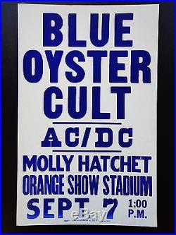 Blue Oyster Cult Ac/dc Original Vintage Rock Concert Promo Poster