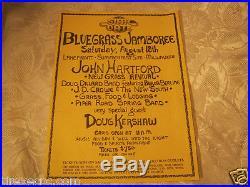 Bluegrass Jamboree Milwaukee John Hartford Doug Kershaw Original Concert poster