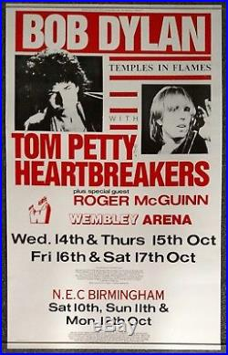 Bob Dylan Tom Petty Temples in Flames Tour 1987 CONCERT POSTER Roger McGuinn