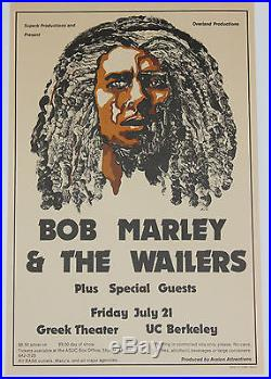 Bob Marley Original Concert Poster 1978 UC Berkeley