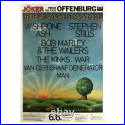 Bob Marley & The Wailers 1976 Sunrise Festival Offenburg Concert Poster (Ger)