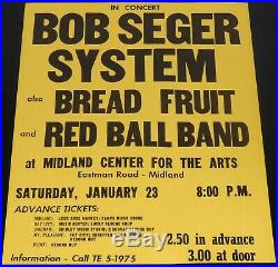 Bob Seger System 1971 Midland Michigan Original Concert Poster