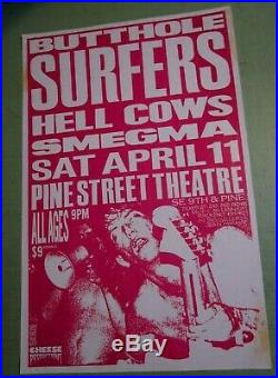 Butthole Surfers 1987 Original Concert Show Poster Portland with Hell Cows Smegma