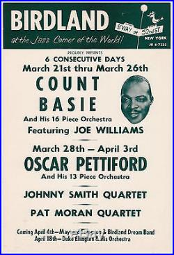 COUNT BASIE Maynard Ferguson DUKE ELLINGTON 1956 Concert Handbill Flyer BIRDLAND