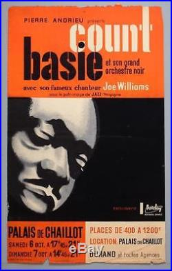 COUNT BASIE mega rare original Paris 1956 jazz concert poster (Nory)