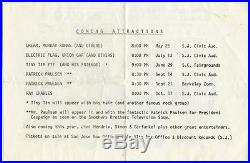 CREAM JIMI HENDRIX Original 1968 Concert Handbill Eric Clapton Jack Bruce