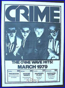 CRIME Southern California 1979 US ORG Concert POSTER Vintage PUNK MINTY