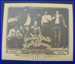 CROSBY, STILLS, NASH & YOUNG ORIGINAL CONCERT POSTER 6/17/70 1st PRINTING