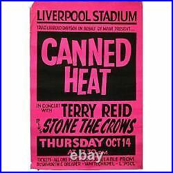 Canned Heat 1971 Liverpool Stadium Concert Poster (UK)