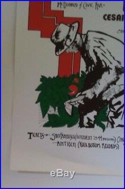 Ceasar Chavez, Farm Workers Benefit Art by Ruben Guzman Org 1974 Concert Poster