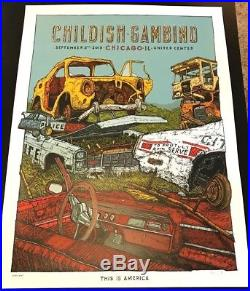 Childish Gambino This Is America 2018 Tour Chicago Concert Print Poster #/50