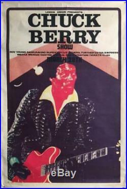 Chuck Berry 1972 Leeds England Concert Original Poster 30 X 20 Very Rare