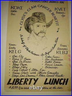 Clyde Buchanan benefit concert poster Blaze Foley Joe Ely LIBERTY LUNCH AUSTN TX