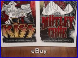 Concert/Tour silkscreen poster KISS Motley Crue uncut S/N Rhys Cooper 2012