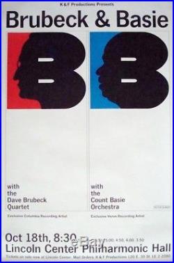 DAVE BRUBECK COUNT BASIE Vintage 1969 NEW YORK concert poster MILTON GLASER NM