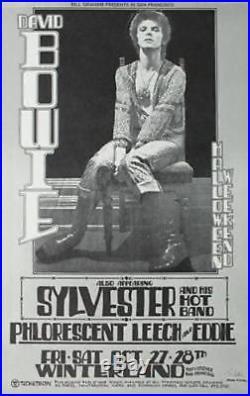DAVID BOWIE BGP WINTERLAND 1972 vintage concert poster RANDY TUTEN signed NM