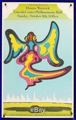 DIONNE WARWICK Vintage 1970 NEW YORK concert poster MILTON GLASER SUPERB