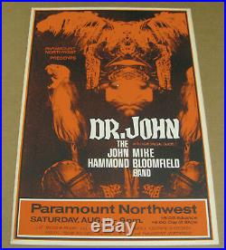 DR. JOHN Mike Bloomfield Original 1973 Cardboard Boxing Style Concert Poster