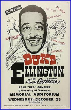 DUKE ELLINGTON Original 1963 Cardboard Boxing Style Concert Poster WOW