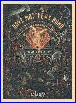Dave Matthews Band Poster virginia beach 2021 concert 8/28 luke martin art