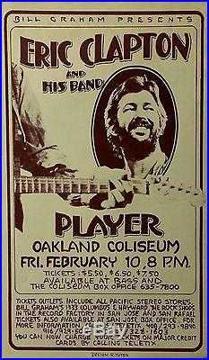 Eric Clapton Oakland Coliseum 1978 Concert Poster Presented By Bill Graham