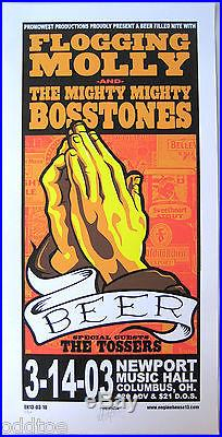FLOGGING MOLLY- MIGHTY BOSSTONES ORIG. 2003 Concert Poster s/n by Mike Martin