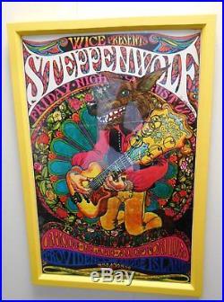 Framed Vintage Psychedelic Timothy Dixon Steppenwolf Rock Concert Poster 1969