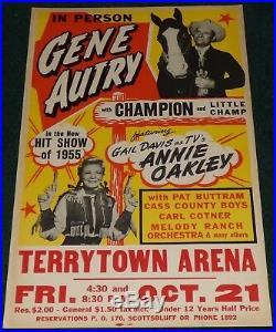Gene Autry Gail Davis Terrytown Arena 1955 Original Concert Poster Annie Oakley