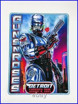 Guns N Roses Detroit Robocop Concert Poster Comerica Park 2021 132/250 Axl Rose