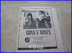 Guns N Roses Original 12-26-87 Perkins Palace Rare Concert Poster Ad