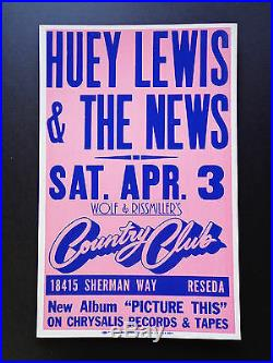 Huey Lewis & The News Country Club Original Vintage Concert Promotion Poster