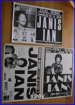 JANIS IAN 3 original silkscreen concert posters'80