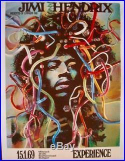 JIMI HENDRIX 1969 German A1 concert poster GUNTHER KIESER LINEN BACKED VERY RARE