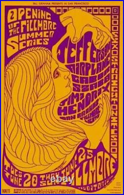 JIMI HENDRIX / JEFFERSON AIRPLANE 1967 FILLMORE 2nd PRINTING CONCERT POSTER